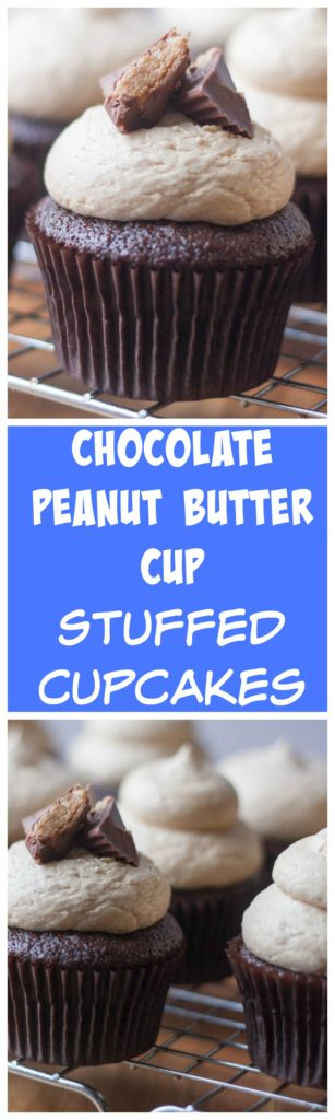 Reese's Stuffed Cupcake- Easy to make one bowl chocolate cupcakes stuffed with a peanut butter cup and topped with the creamiest peanut butter frosting! You have to try these!