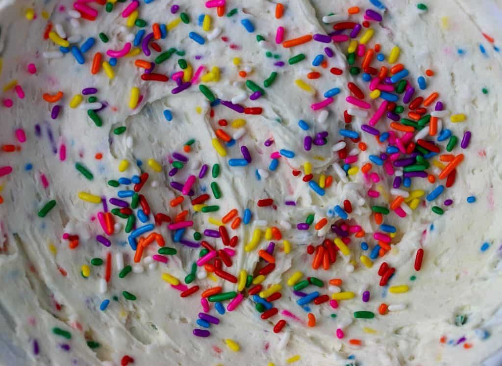 cake batter frosting with sprinkles
