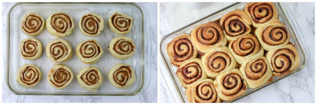 pan of unbaked cinnamon rolls and a pan of baked cinnamon rolls