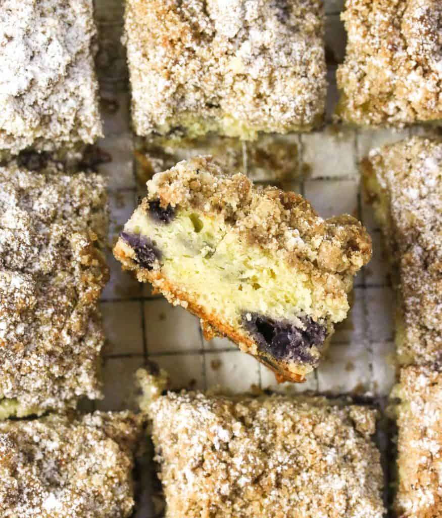 blueberry crumb cake turned upright