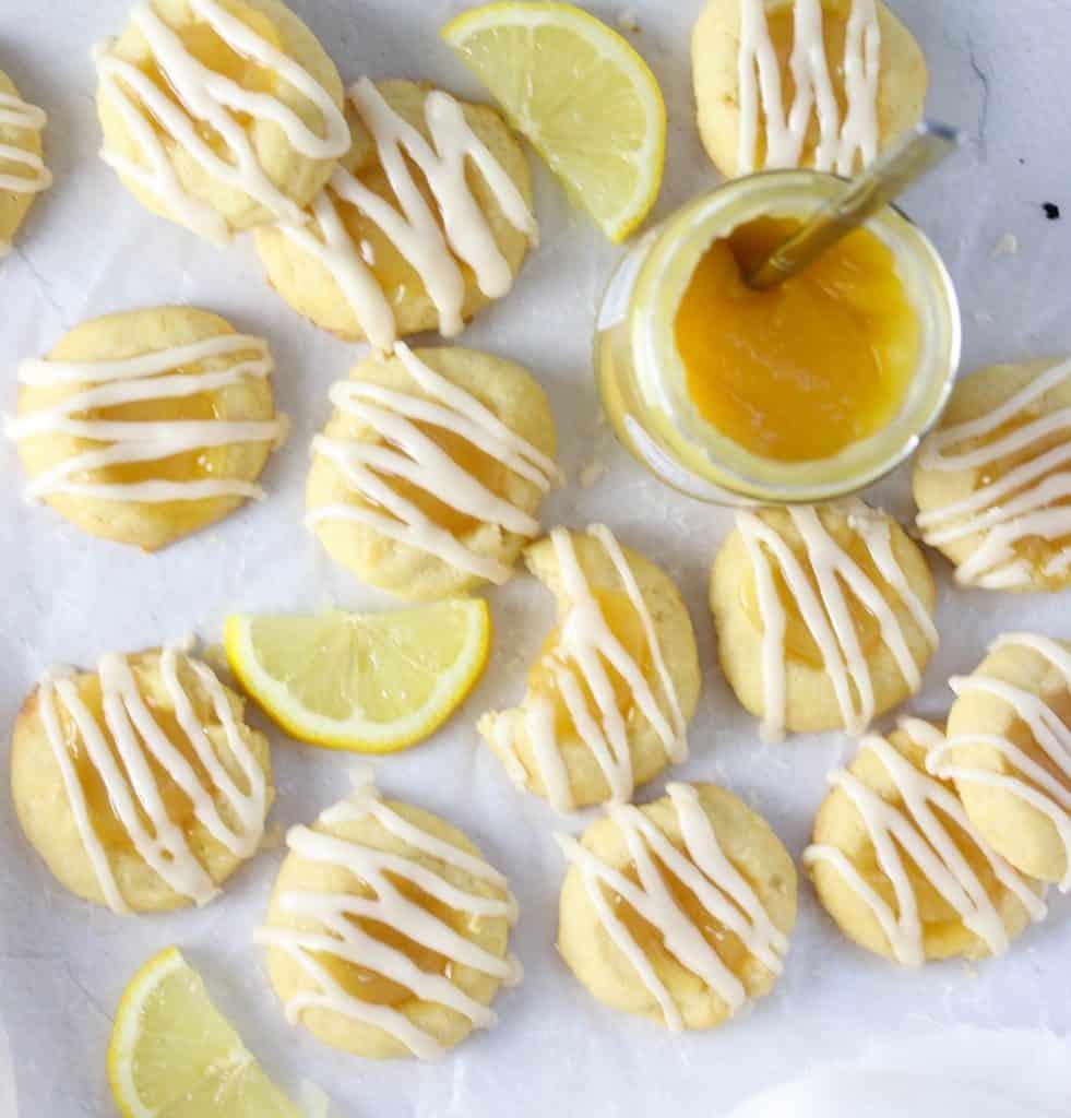 lemon cookies, lemon slices, and a jar of lemon curd