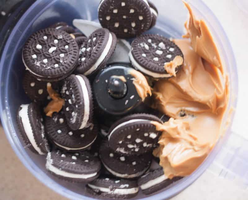 oreo cookies and peanut butter in food processor