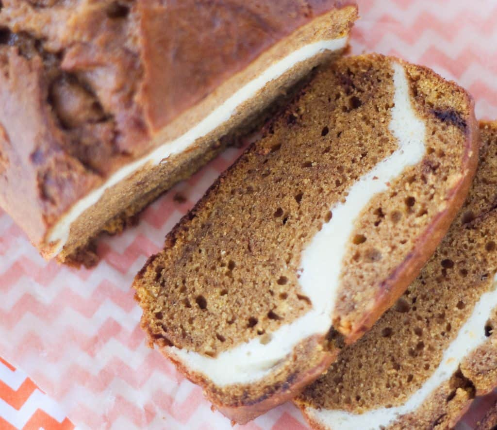 Cream Cheese Pumpkin Bread Sliced