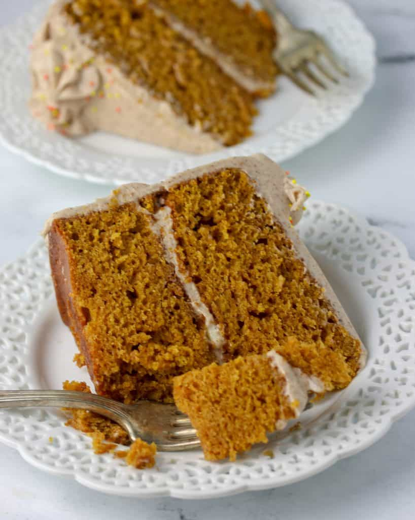 two slices of pumpkin cake on plates
