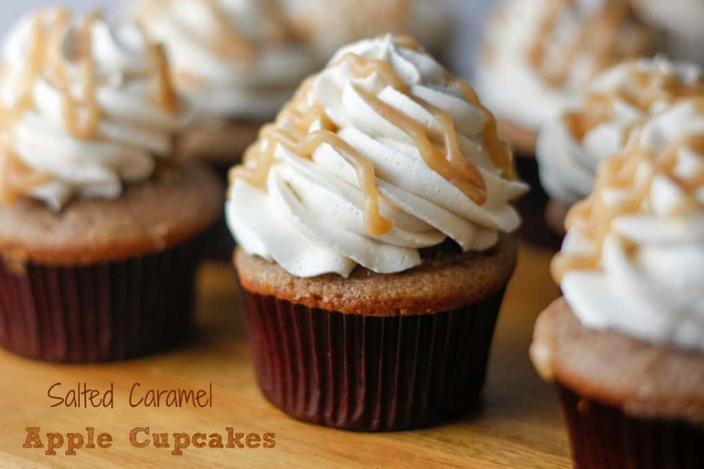 caramel apple cupcakes on a cutting board