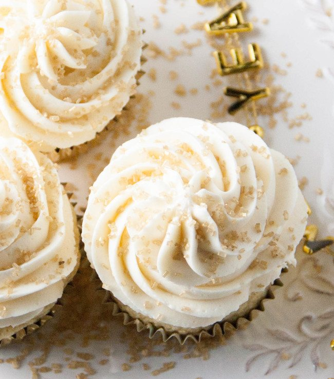 Champagne Cupckes with champagne buttercream