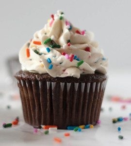 chocolate cupcakes with cake batter frosting