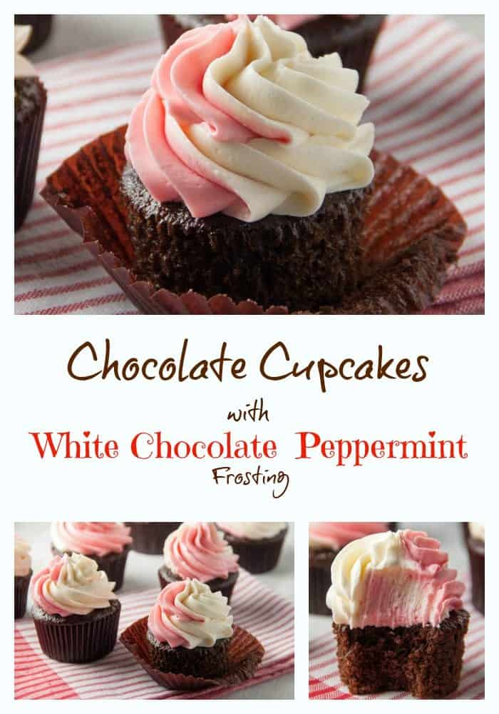 chocolate cupcakes with white chocolate peppermint frosting