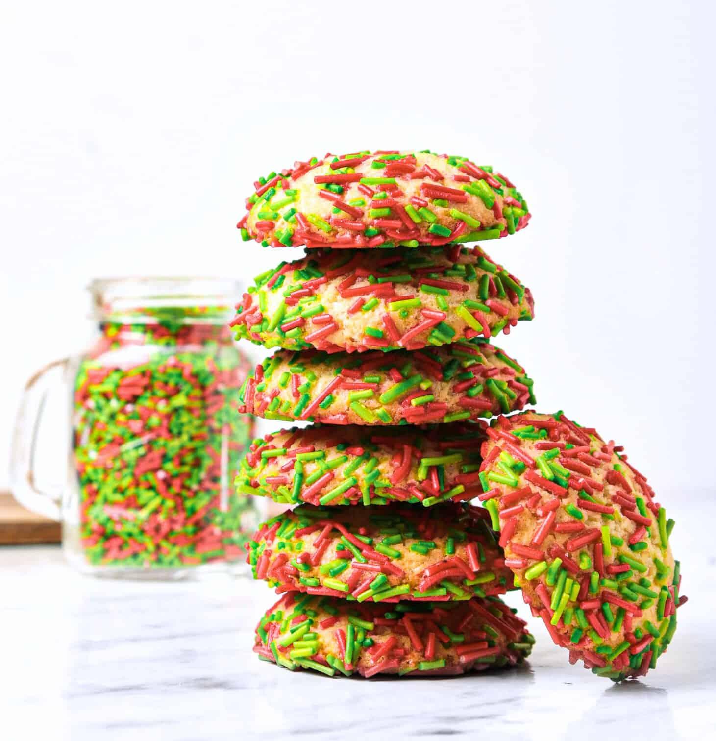 stack of sprinkle sugar cookies