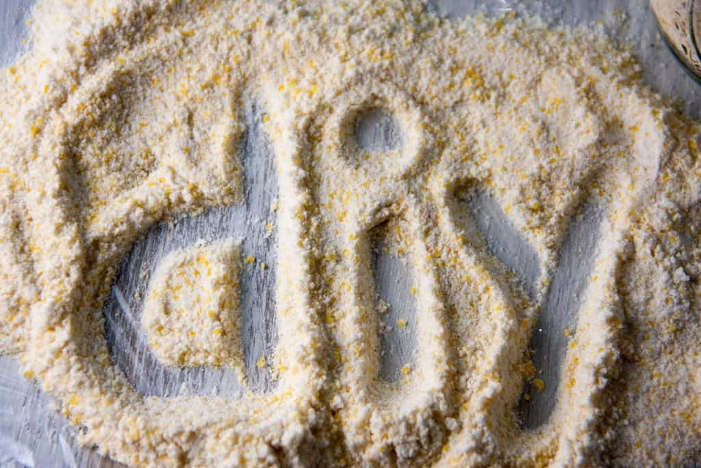 diy spelled out in cornmeal mix