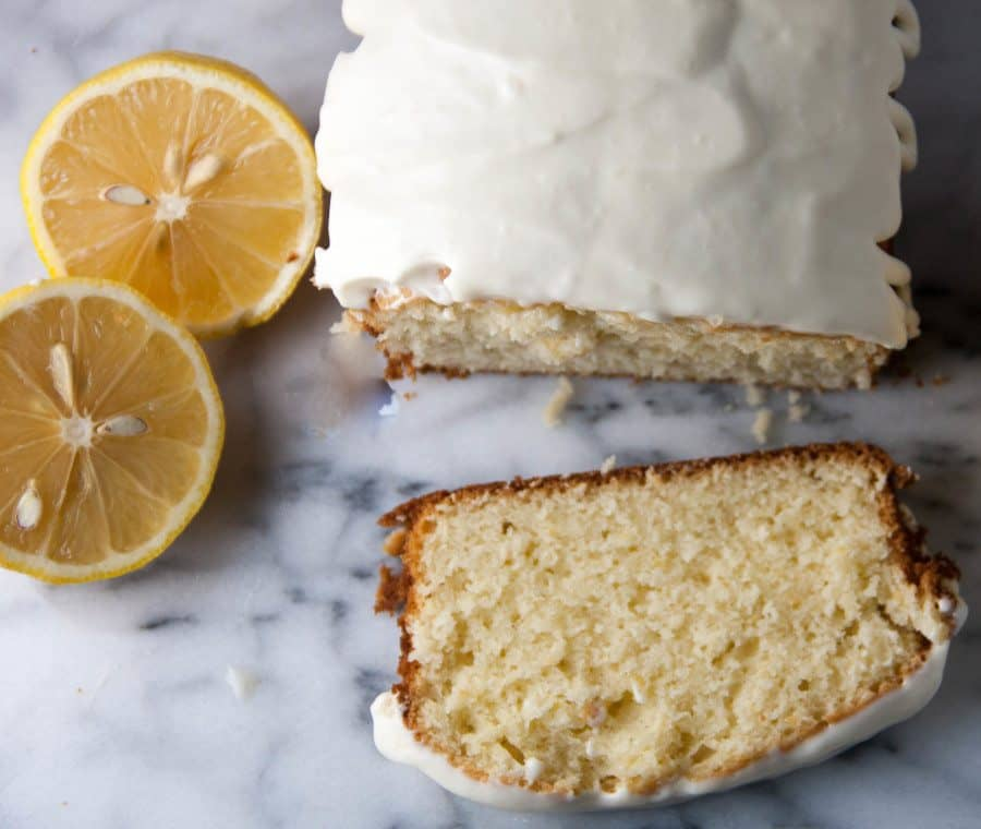 old fashioned lemon pound cake with cream cheese glaze