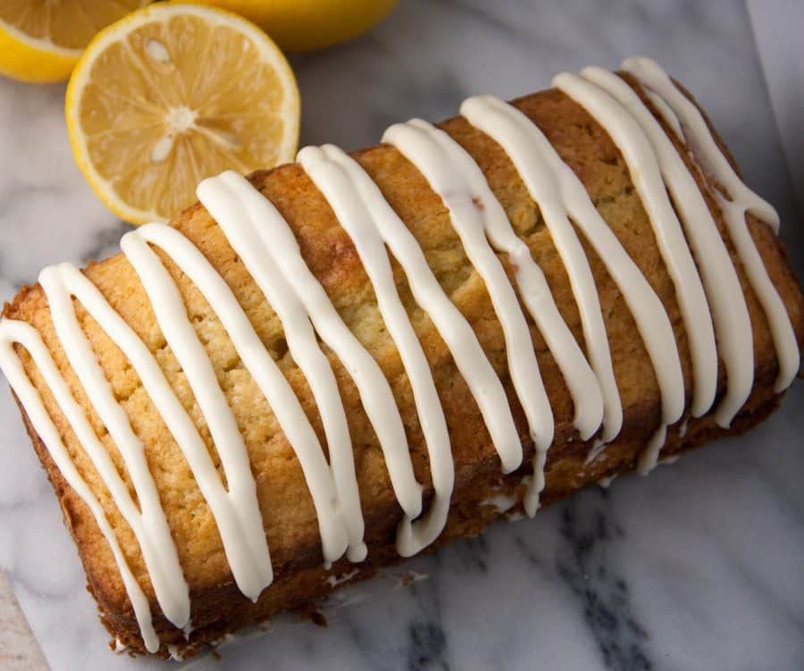 whole lemon bread with glaze