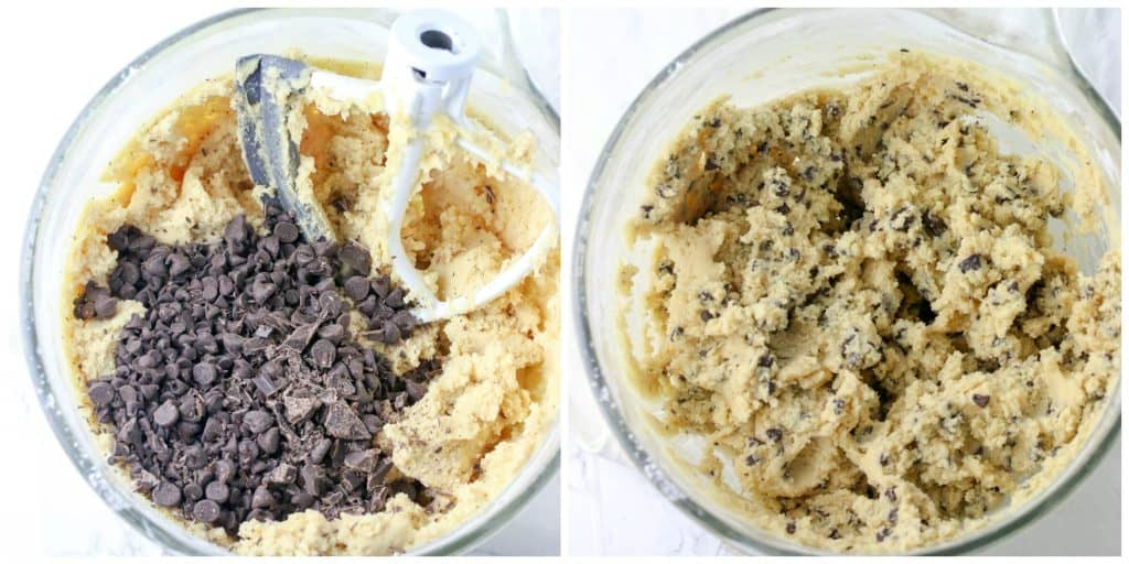 cookie dough with chocolate chips in bowl