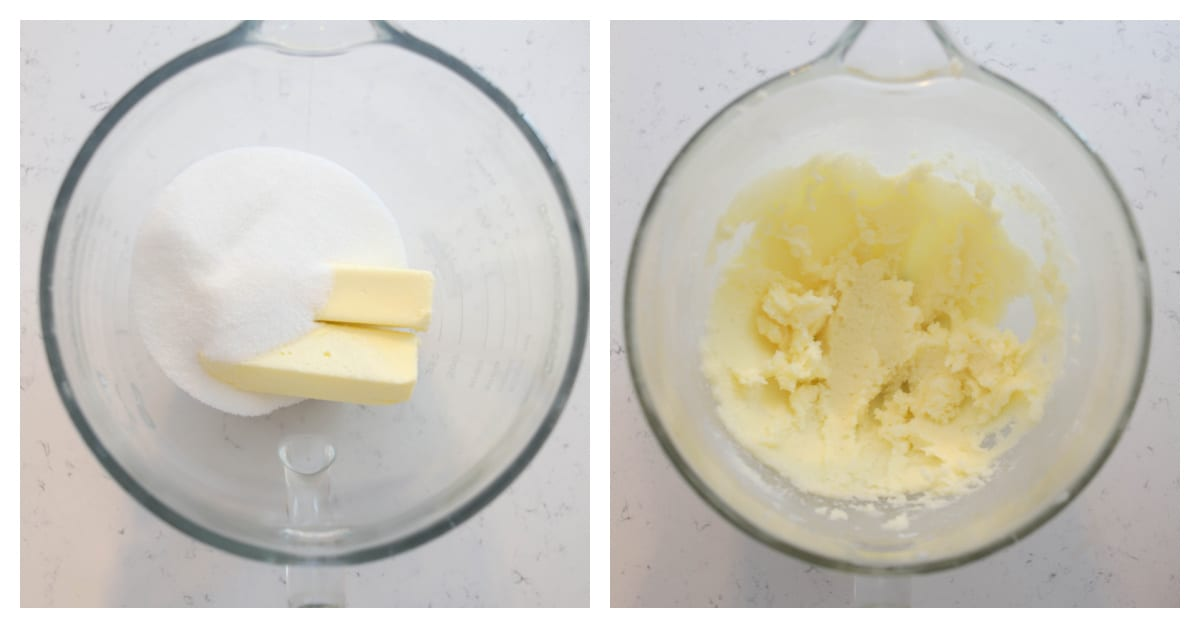 butter and sugar creamed together in a bowl
