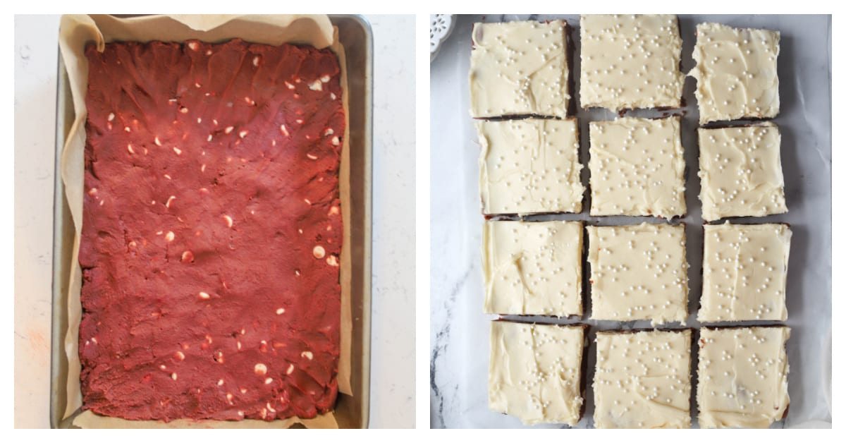 two photos of red velvet bars unbaked then bars baked and topped with frosting
