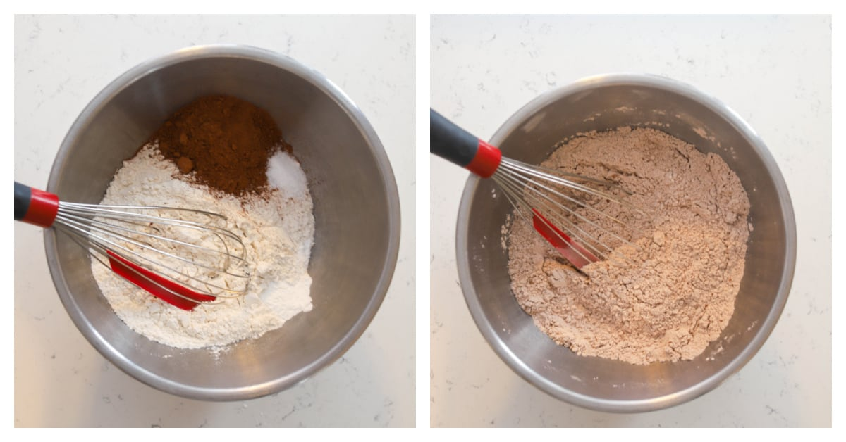 two photos of dry ingredients being whisked together