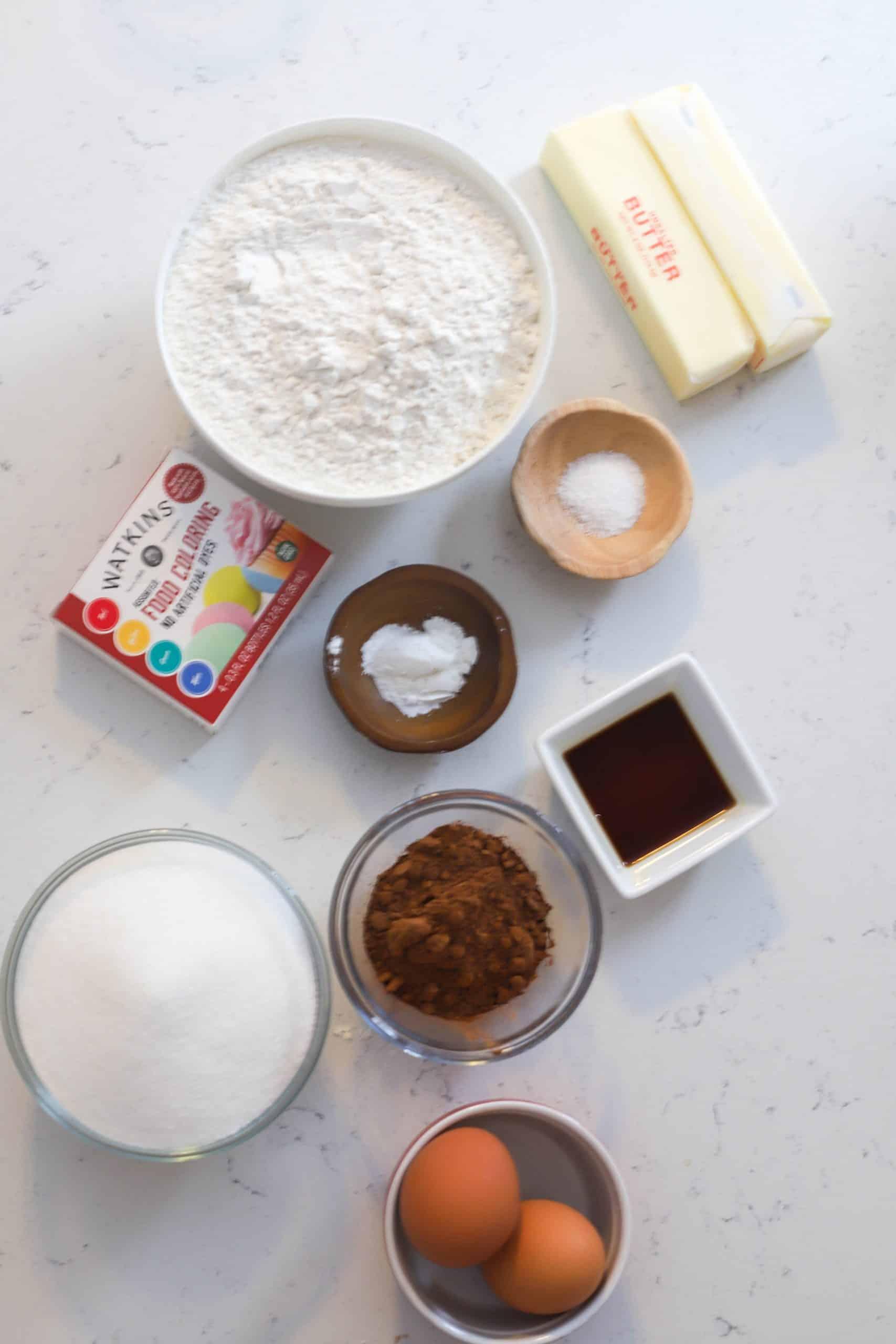 ingredients for the red velvet bars