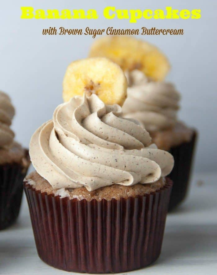 banana cupcake with cinnamon buttercream