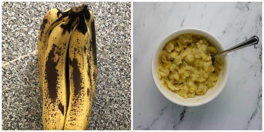 ripe bananas and a bowl of mashed bananas
