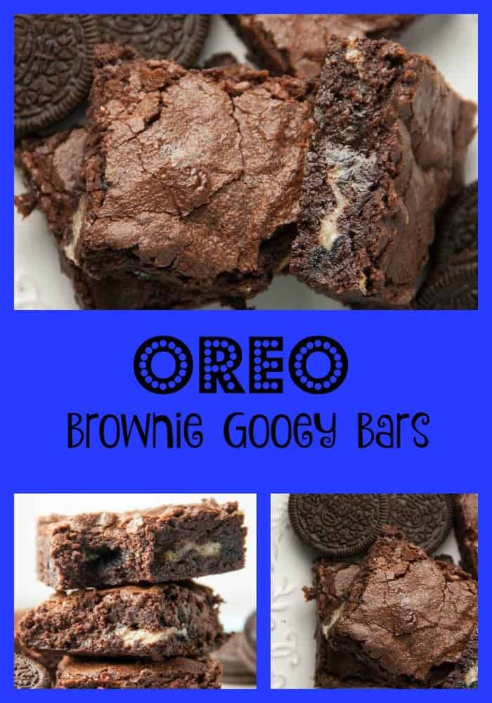 oreo gooey bar collage