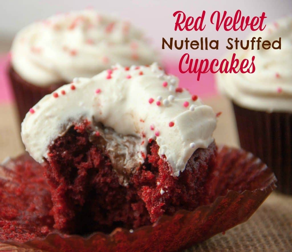 Red velvet nutella stuffed cupcakes