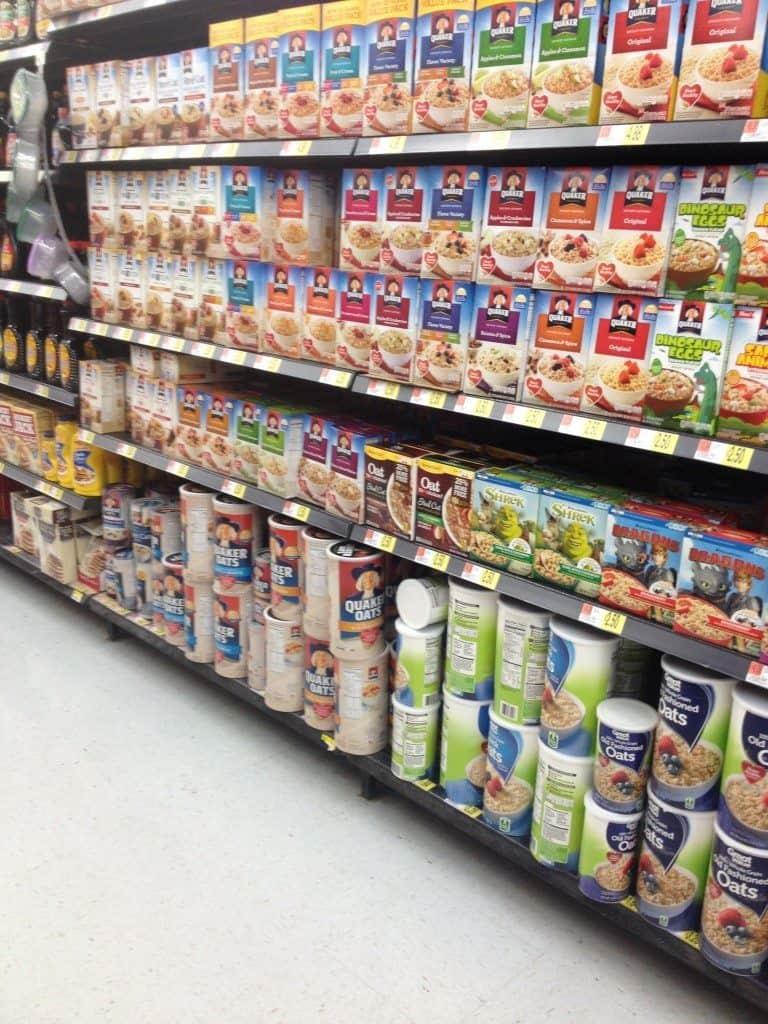 oatmeal aisle in Wal-mart