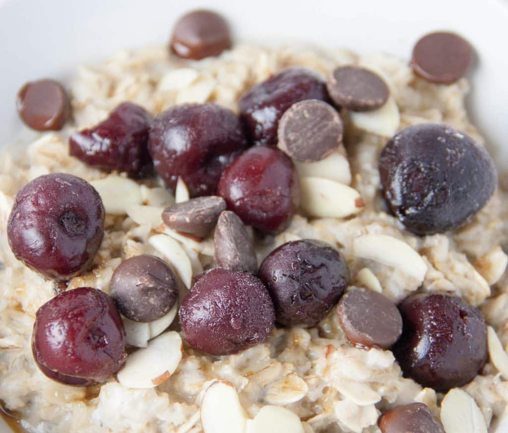 oatmeal with cherries chocolate chips and almonds