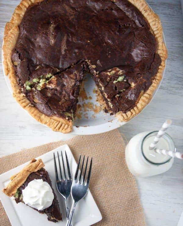 mint cheesecake layered brownie pie st. patrick's day desserts