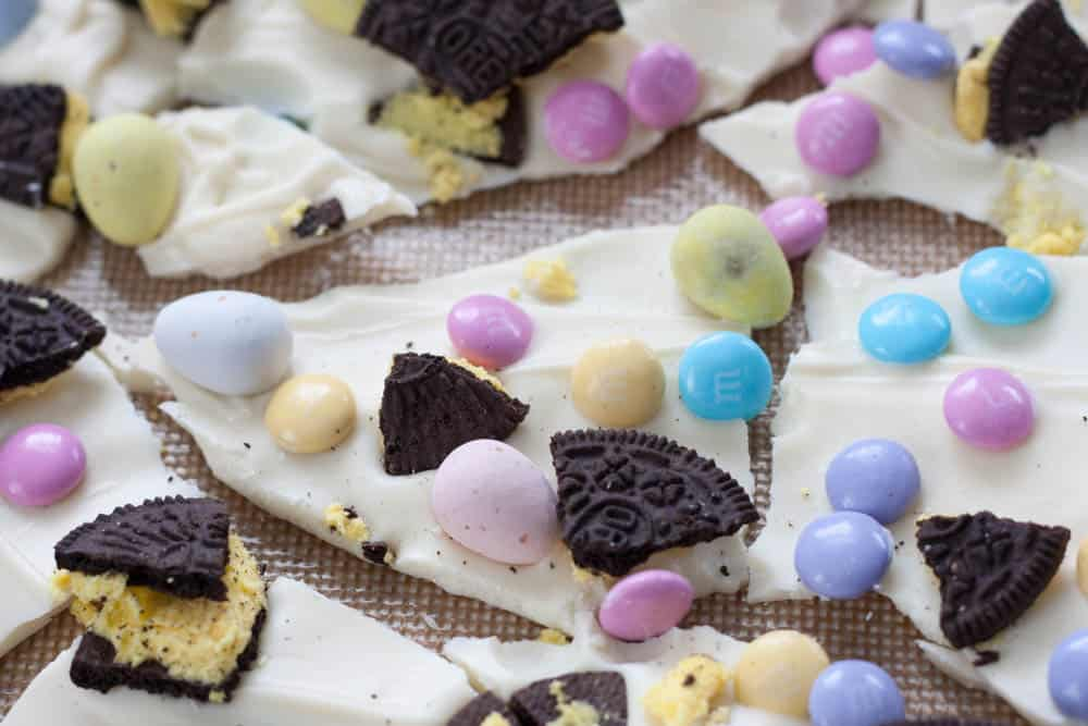 Easter Chocolate Bark broken into pieces