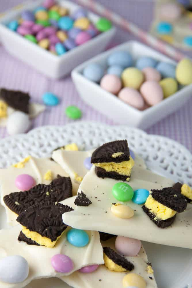 easter chocolate bark on a plate