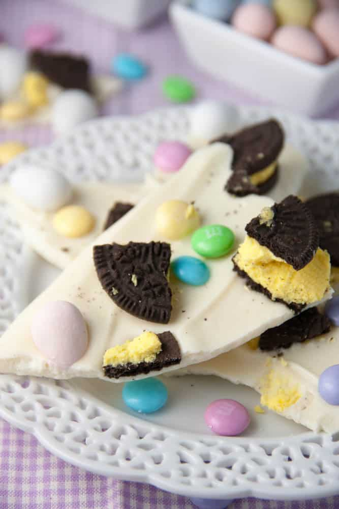 Easter Oreo Candy Bark on a plate