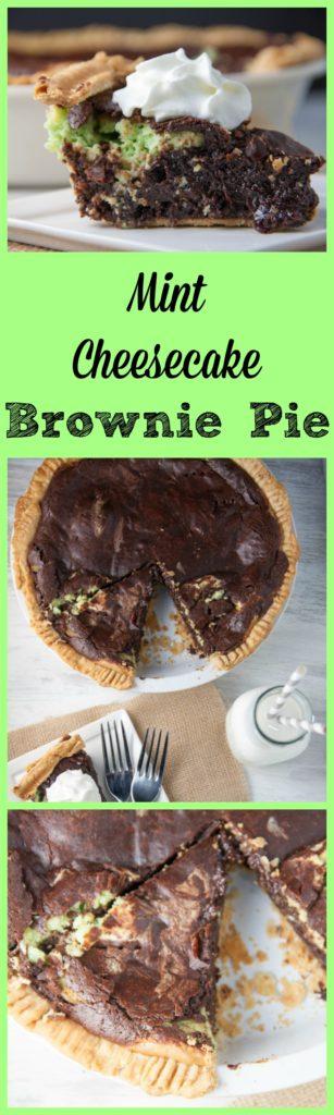 Mint Cheesecake Brownie Pie