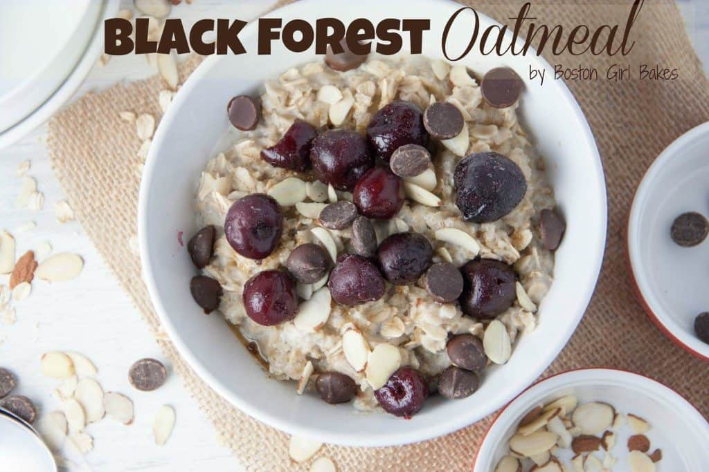 bowl of oatmeal with cherries and chocolate chips