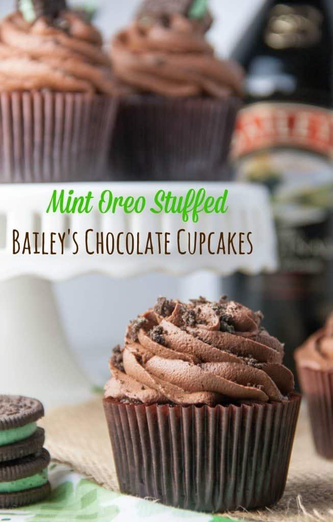 Mint Oreo Stuffed Baileys Cupcakes