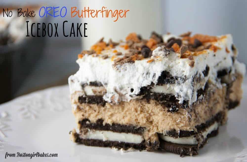 oreo icebox cake slice on a plate