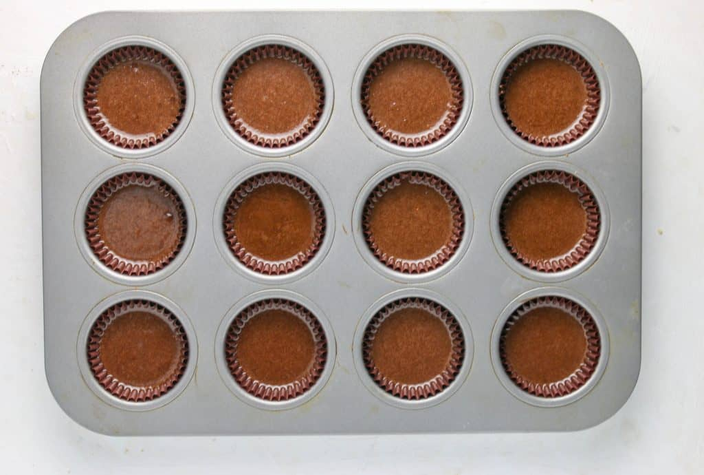 chocolate cupcake batter in pan