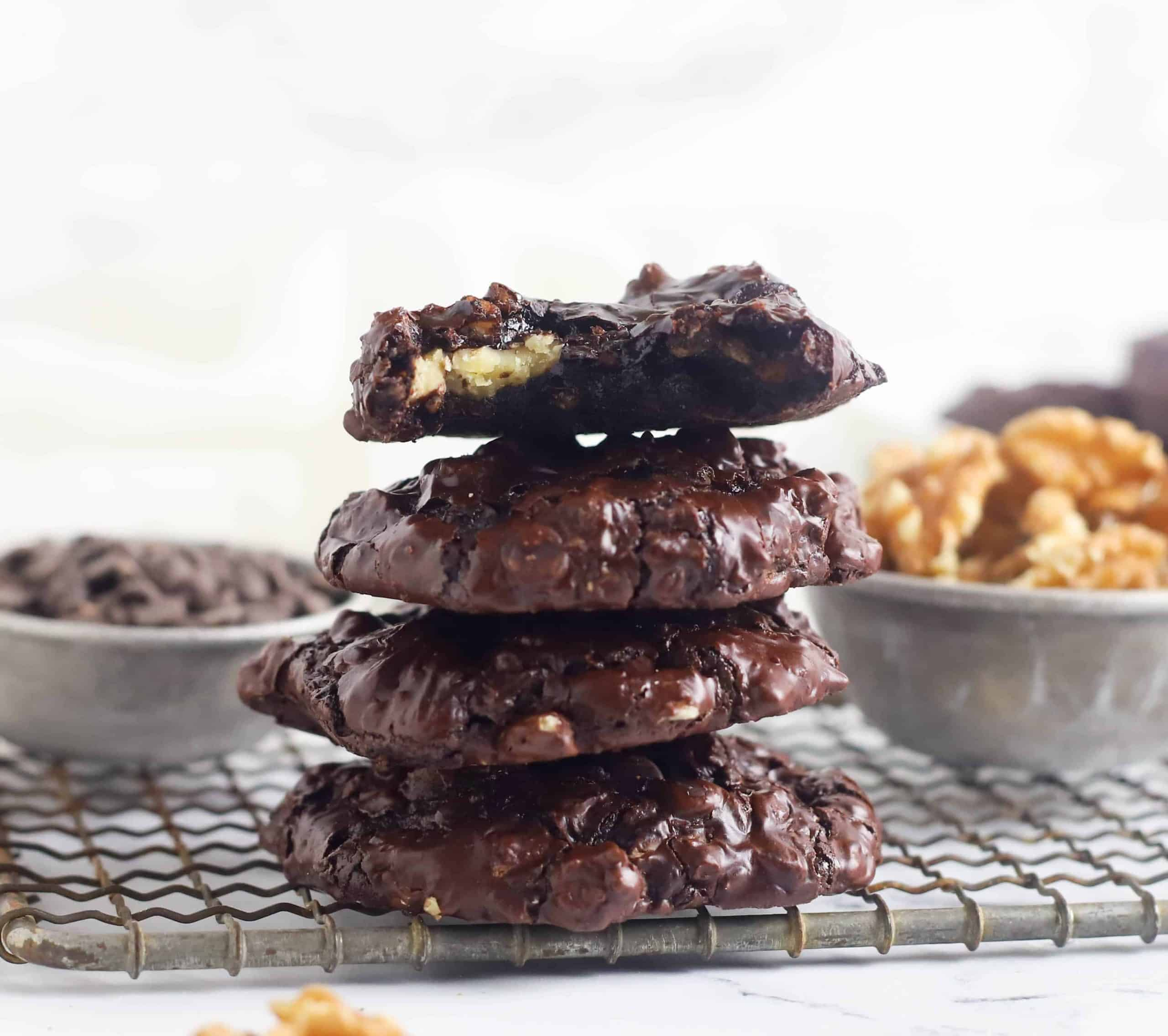 stack of flourless walnut cookies