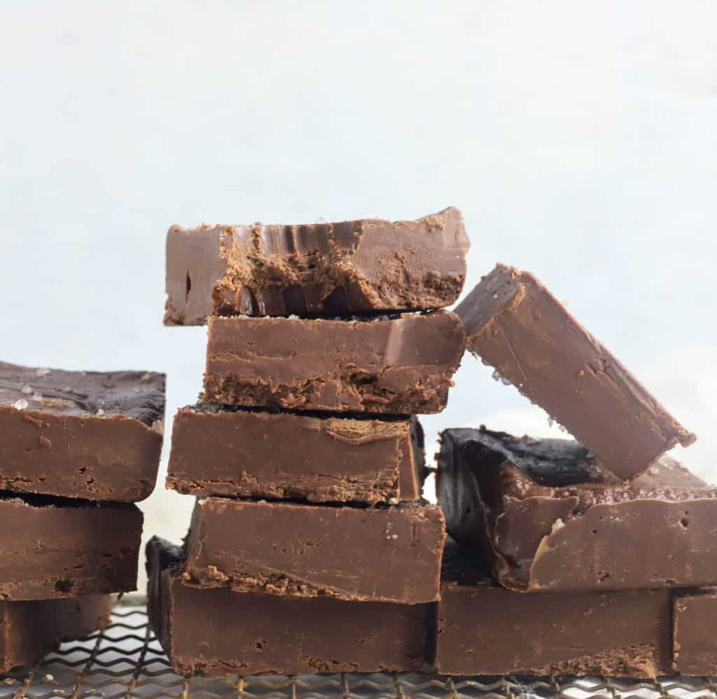 stack of nutella fudge pieces