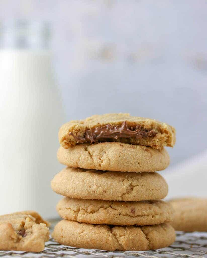 stack of nutella peanut butter cookies