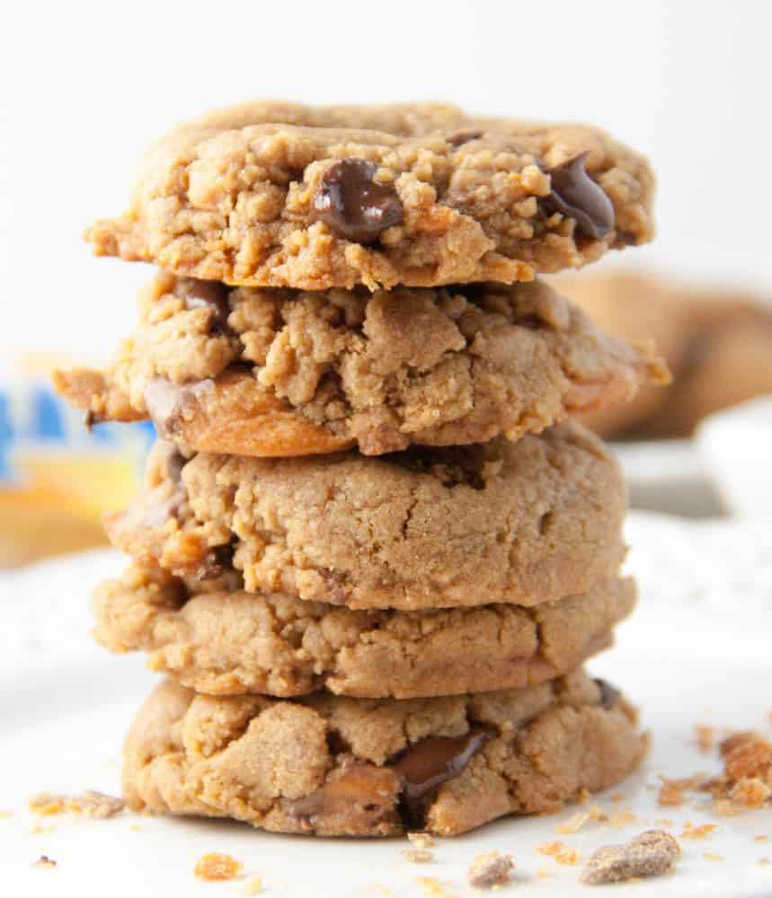 4 Flourless Butterfinger Peanut butter Chocolate Chip Cookies stacked