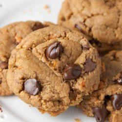 Flourless Butterfinger Peanut butter Chocolate Chip Cookies