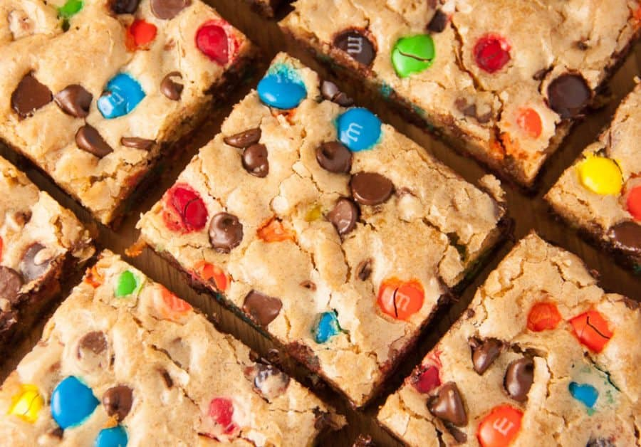 M&M cookie bars cut into squares