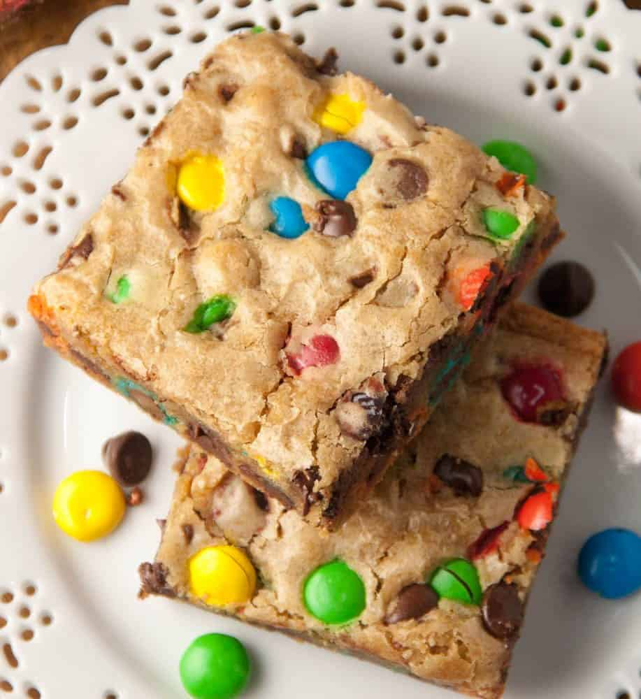 M&M Chocolate Chip Brown Butter Blondies