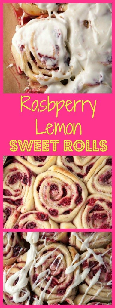 Raspberry Sweet Rolls topped with a tangy lemon cream cheese frosting! Save this pin now for Mother's Day!