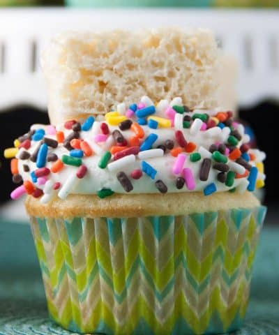 These are like two treats in one! A vanilla cupcake topped with a marshmallow buttercream and to top it off- a rice krispie treat!