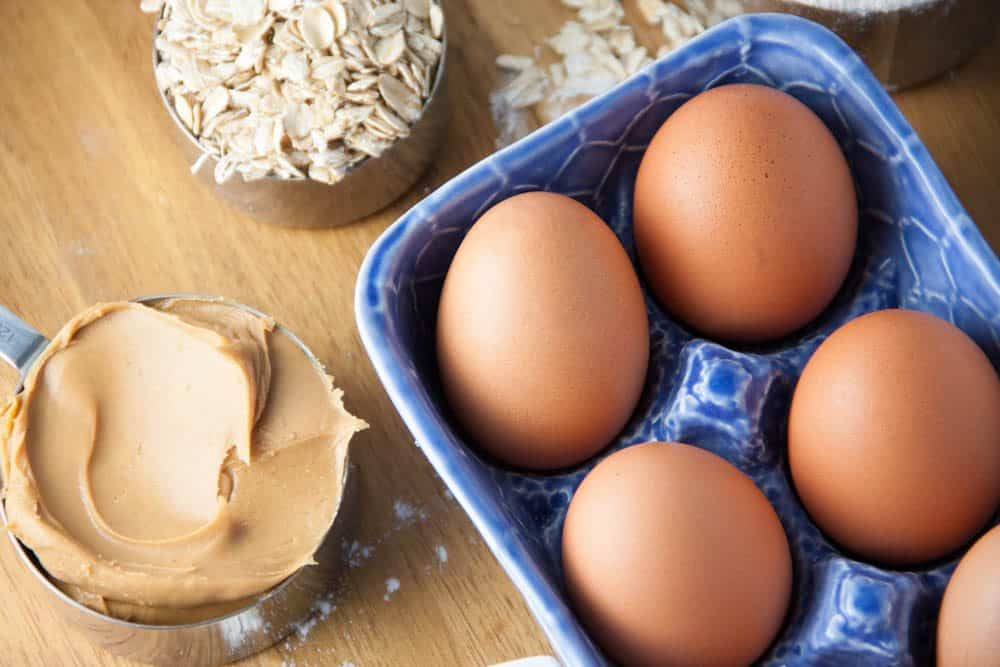 eggs, peanut butter, and a cup of oats
