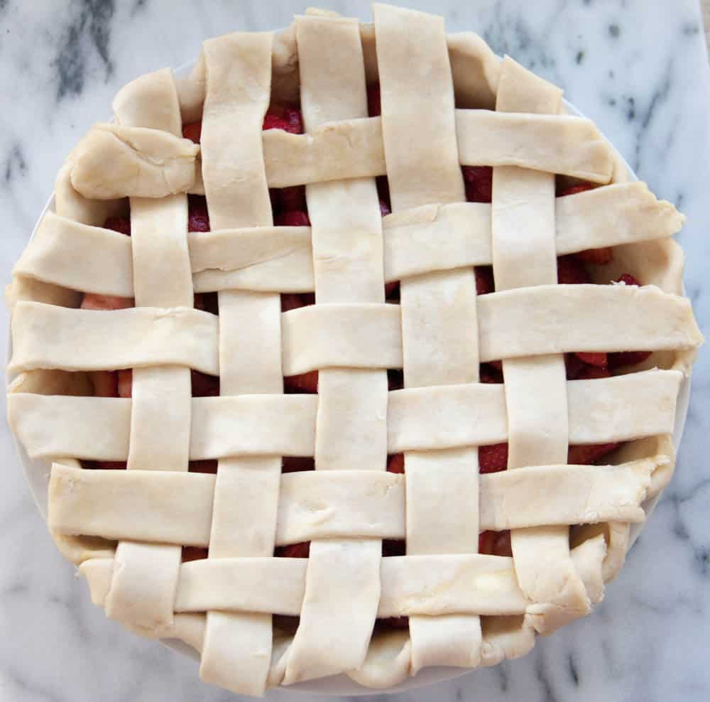 an unbaked lattice pie crust
