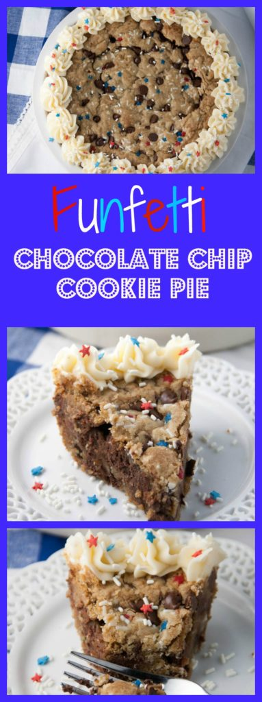 This is the perfect Memorial Day or 4th of July Dessert to bring to that family get together! It's an easy cookie recipe that simply gets pressed into a pie plate and baked. There are fun sprinkles added, and a creamy buttercream frosting on top too!