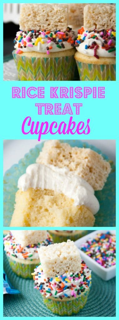 It's like two treats in one! A vanilla cupcake with a marshmallow buttercream and topped with a rice krispie treat!