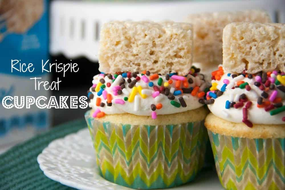 Rice Krispie treat cupcakes with Marshmallow buttercream frosting